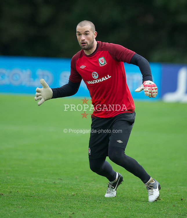 CARDIFF, WALES - Tuesday, September 4, 2012: Wales' goalkeeper Boaz Myhill during a training session at the Vale of Glamorgan ahead of the Brazil 2014 FIFA World Cup Qualifying Group A match against Belgium. (Pic by David Rawcliffe/Propaganda)