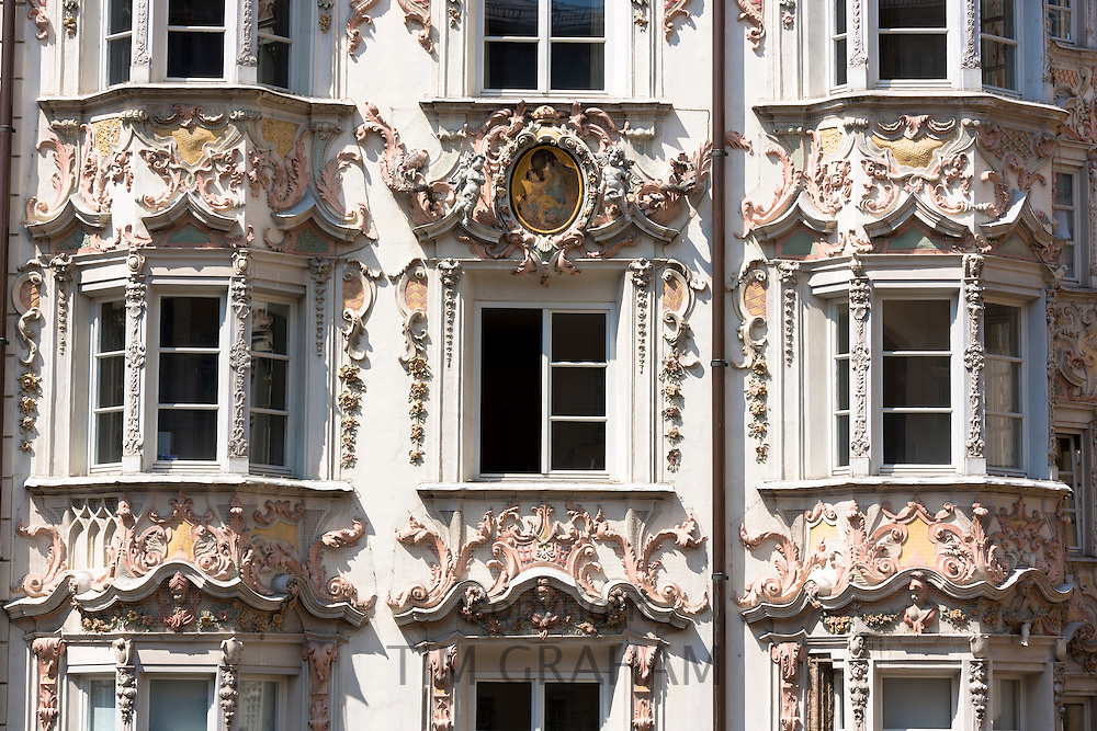 Rococo Baroque style Tyrolean architecture of Holblinghaus in Herzog Friedrich Strasse in Innsbruck, the Tyrol, Austria