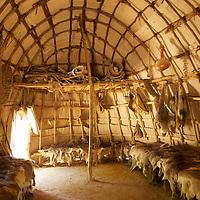 Recreation of a Powhatan Indian Village at Jamestown Settlement.