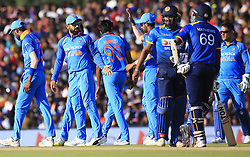 August 20, 2017 - Dambulla, Sri Lanka - Indian cricket captain Virat Koli and his team mates  celebrate during the 1st One Day International cricket match bewtween Sri Lanka and India at Dambulla International cricket stadium situated in the Central Province and the first and only International cricket ground in the dry zone of Sri Lanka on Sunday 20 August 2017. (Credit Image: © Tharaka Basnayaka/NurPhoto via ZUMA Press)