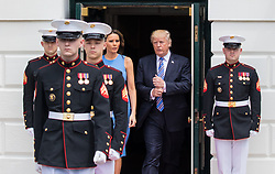 June 19, 2017 - Washington, DC, United States - Marines walk out ahead of President Donald Trump and First Lady Melania Trump, to prepare for the arrival of President Juan Carlos Varela and Mrs. Lorena Castillo Varela of Panama, at the South Portico (South Lawn) of the White House, on Monday, June 19, 2017. (Photo by Cheriss May) (Credit Image: © Cheriss May/NurPhoto via ZUMA Press)