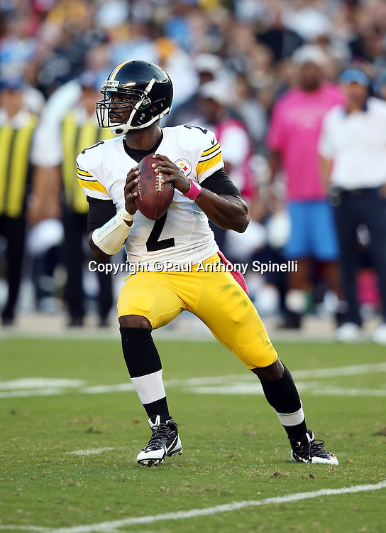 Pittsburgh Steelers quarterback Mike Vick (2) drops back to pass during the 2015 NFL week 5 regular season football game against the San Diego Chargers on Monday, Oct. 12, 2015 in San Diego. The Steelers won the game 24-20. (©Paul Anthony Spinelli)