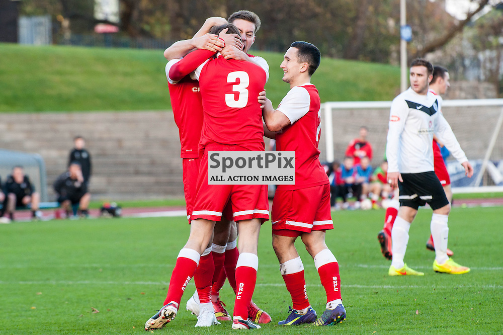 Brora players celebrate their equalising goal by Colin Williamson(3). Action from the Scottish Cup 3rd Round game between Edinburgh City and Brora Rangers at Meadowbank Stadium in Edinburgh, 1 November 2014. (c) Paul J Roberts / Sportpix.org.uk