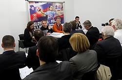 Tone Tiselj, head coach of Slovenia's women team and Franjo Bobinac, president of RZS during meeting of RZS - Handball federation of Slovenia, on March 9, 2011 in SRC Stozice, Ljubljana, Slovenia. (Photo By Vid Ponikvar / Sportida.com)