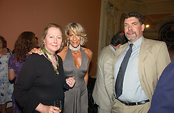 Left to right, SARAH BRADFORD, LEONIE FRIEDA and COUNT NICCOLO CAPPONI DELLA ROVINATE at a party to celebrate the publication of 'A History of The English Speaking Peoples Since 1900' hosted by Andrew Roberts and Susan Gilchrist at the English-Speaking Union, 37 Charles Street, London W1 on 11th September 2006.<br />