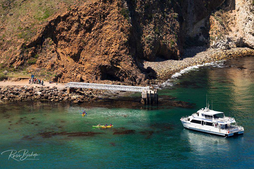 Island Packers boat at the Scorpion Cove dock, Santa Cruz Island, Channel Islands National Park, California USA