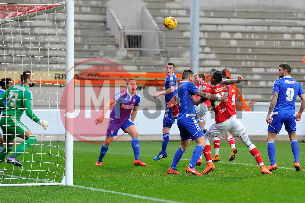 Aden Flint of Bristol City scores  - Mandatory byline: Joe Meredith/JMP - 13/02/2016 - FOOTBALL - Ashton Gate - Bristol, England - Bristol City v Ipswich Town - Sky Bet Championship