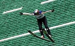 Primoz Peterka lands during his last jump in his very successful career, he is one of the best ski jumpers in history, on July 2, 2011, in Kranj, Slovenia. (Photo by Vid Ponikvar / Sportida)