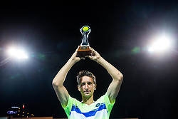 Winner Sergiy Stakhovsky (UKR) celebrates during Trophy ceremony after the Final match of ATP Challenger Zavarovalnica Sava Slovenia Open 2017, on August 12, 2017 in Sports centre, Portoroz/Portorose, Slovenia. Photo by Vid Ponikvar / Sportida