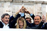Roma 24 Maggio 2013.Silvio Berlusconi  chiude la campagna elettorale  per  Gianni Alemanno  sindaco uscente di Roma e  ricandidato per un nuovo mandato per il Popolo delle Libertà, per le elezioni comunali  che si terranno il 26-27 Maggio.