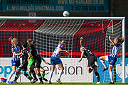 Ball going over the head of Maria Thorisdottir (Chelsea) and above the goal from a corner kick during the FA Women's Super League match between Brighton and Hove Albion Women and Chelsea at The People's Pension Stadium, Crawley, England on 15 September 2019.