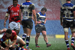 Nick Auterac of Bath Rugby looks on in the pouring rain - Photo mandatory by-line: Patrick Khachfe/JMP - Mobile: 07966 386802 29/03/2015 - SPORT - RUGBY UNION - Oxford - Kassam Stadium - London Welsh v Bath Rugby - Aviva Premiership