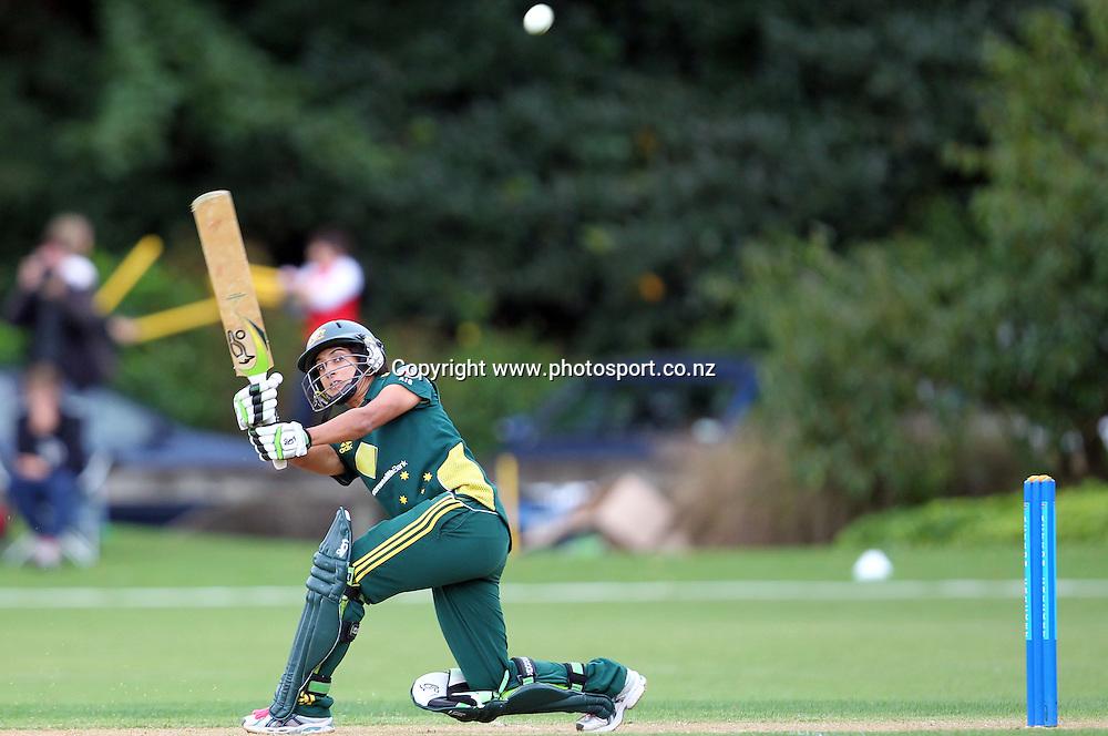 Lisa Sthalekar in action for Australia.<br /> Cricket - Rosebowl Series. Twenty20 International - New Zealand White Ferns v Australia, 18 February 2011, Queens Park, Invercargill, New Zealand.<br /> Photo: Rob Jefferies / www.photosport.co.nz