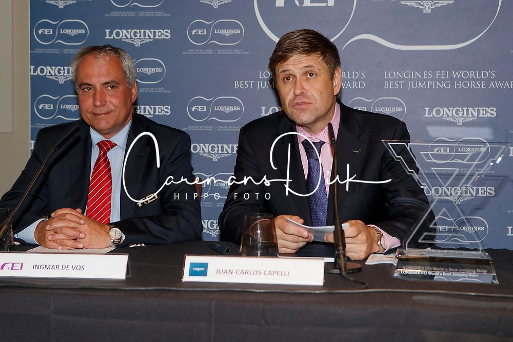 De Vos Ingmar, FEI President, Juan Carlos Capelli, Vice President of the Longines Watch Company<br /> CSIO Barcelona 2017<br /> © Hippo Foto - Dirk Caremans<br /> 30/09/2017