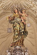 Religious statue Madonna and baby Jesus inside Carmelite church, Basilica of Our Lady of Mount Carmel, Valletta, Malta