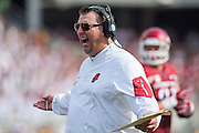 FAYETTEVILLE, AR - SEPTEMBER 5:  Head Coach Bret Bielema of the Arkansas Razorbacks yells to a official during a game against the UTEP Miners at Razorback Stadium on September 5, 2015 in Fayetteville, Arkansas.  The Razorbacks defeated the Miners 48-13.  (Photo by Wesley Hitt/Getty Images) *** Local Caption *** Bret Bielema