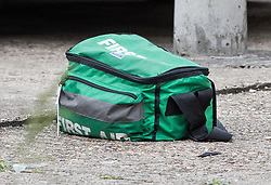 © Licensed to London News Pictures. 05/09/2017. London, UK. A first aid kit is seen near where two teenage boys were shot and injured yesterday in Newham. Police were called at 15:10 hrs and found two teenage boys - aged 14  and 17 with gunshot injuries. Photo credit: Peter Macdiarmid/LNP