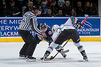 KELOWNA, CANADA - MARCH 25: Matt Needham #14 of Kamloops Blazers faces off against Justin Kirkland #23 of Kelowna Rockets on March 25, 2016 at Prospera Place in Kelowna, British Columbia, Canada.  (Photo by Marissa Baecker/Shoot the Breeze)  *** Local Caption *** Matt Needham; Justin Kirkland;