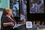 Zita Holbourne speaking at the TUC congress 2016, Brighton. UK.