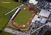 aerial photograph of Huntington Stadium  York Yorkshire England UK   Drone style aerial view taken in York Great Britain