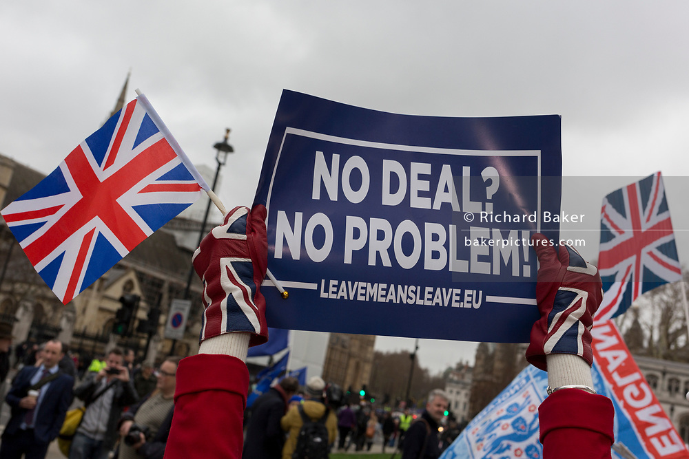 On the day that Prime Minister Theresa May's Meaningful Brexit vote is taken in the UK Parliament, Leave supporters protest opposite the House of Commons, on 15th January 2019, in Westminster, London, England.