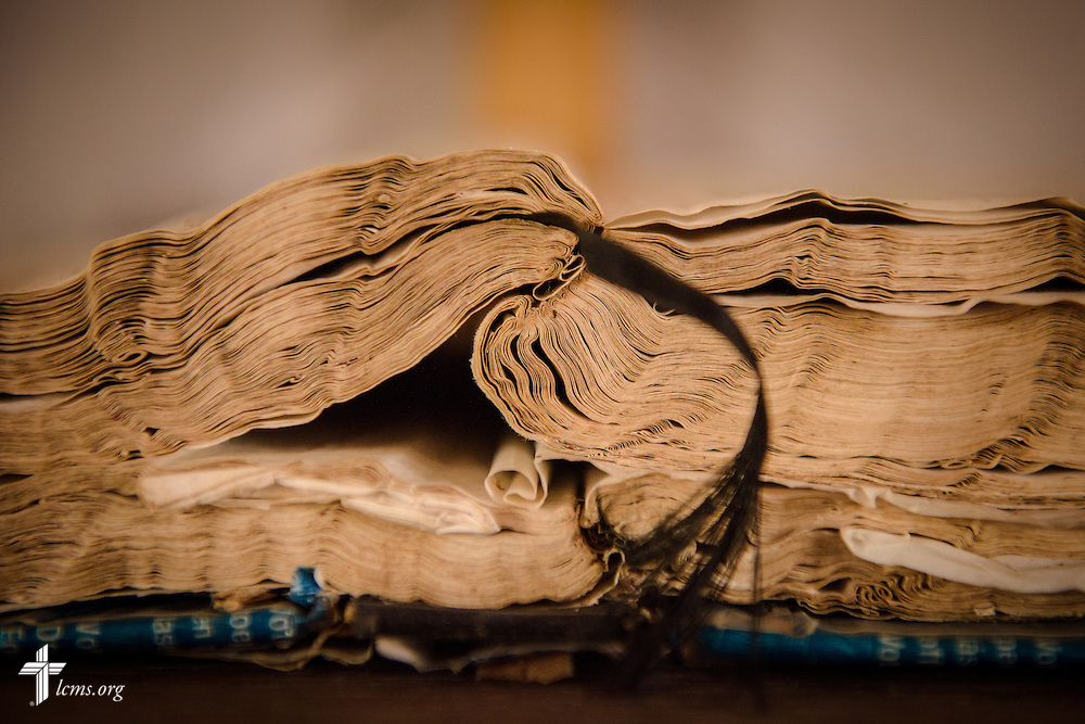 The weathered Bible at the Lutheran Church of Togo in Lokpano on Monday, Feb. 13, 2017, in Togo. The church is the first Lutheran church plant in the country. LCMS Communications/Erik M. Lunsford