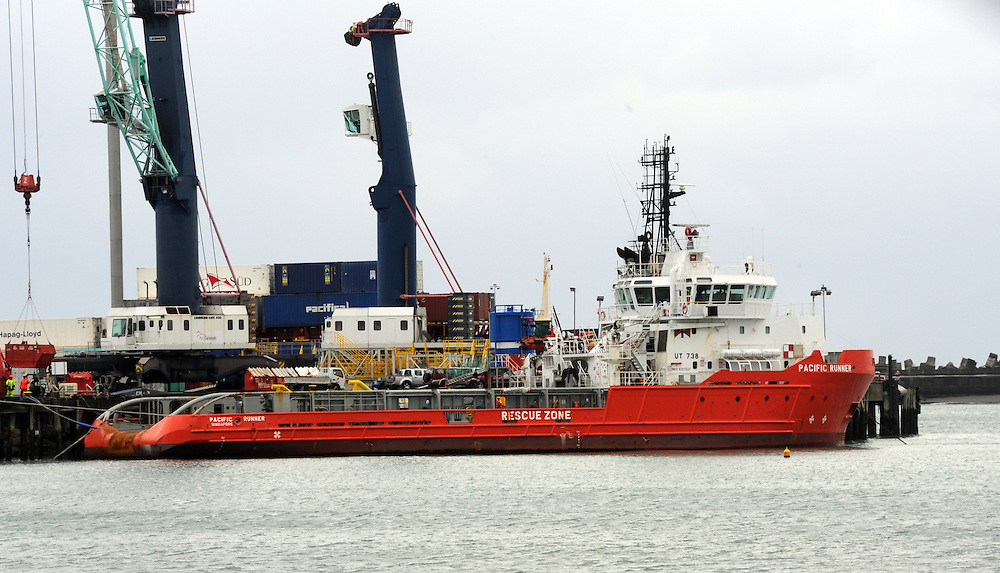 Pacific Runner, Oil Rig supply boat, New Plymouth, New Zealand, Friday, June 21 2013. Credit:SNPA / Ross Setford