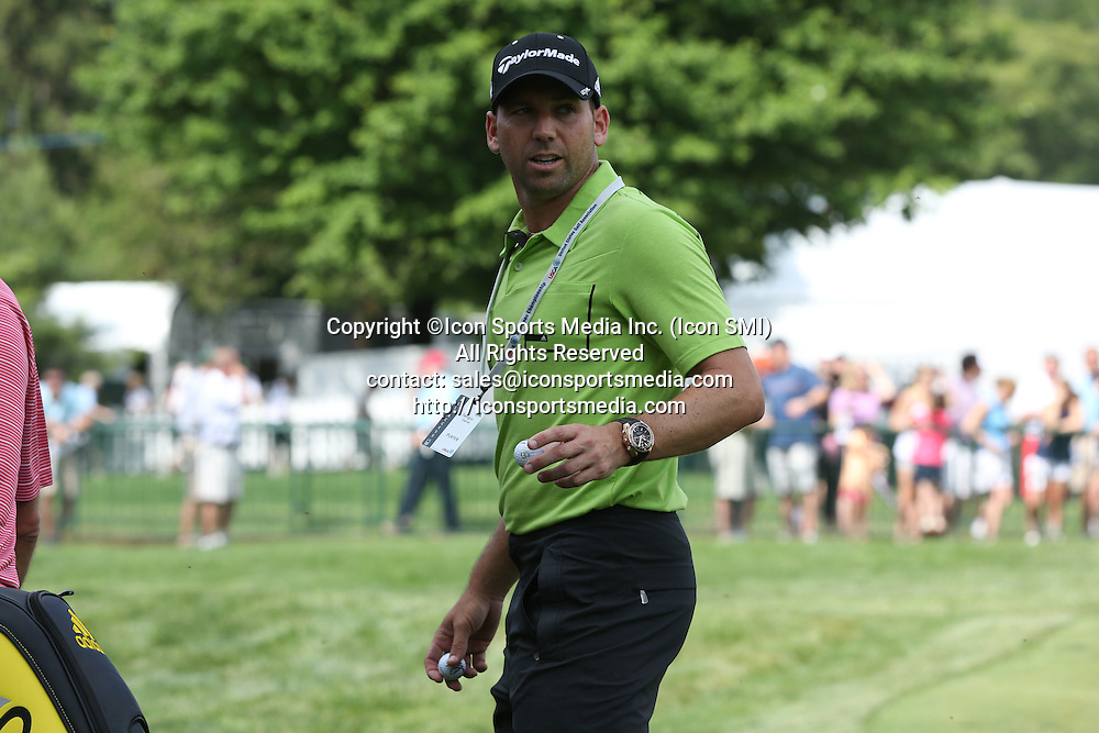 June 11 2013: Sergio Garcia looks back as he walks off the 18th green during tuesday's practice round at the 2013 U.S. Open hosted by Merion Golf Club in Ardmore, PA.