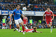 John Marquis (10) of Portsmouth on the attack during the EFL Sky Bet League 1 match between Portsmouth and Gillingham at Fratton Park, Portsmouth, England on 12 October 2019.