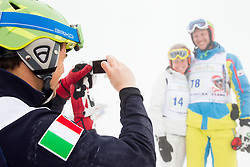 Peter Fill and Andrej Jerman during last race of Andrej Jerman, Slovenian best downhill skier when he finished his professional alpine ski career on April 6, 2013 in Krvavec Ski resort, Slovenia. (Photo By Vid Ponikvar / Sportida)
