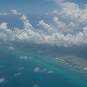 Aerial view from airplane window of the Mexican Caribbean near Chetumal. Quintana Roo. Mexico.