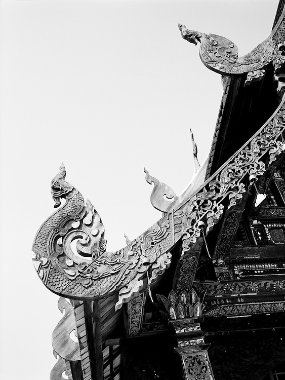 Carved roof ornaments at Wat Ton Kwen, also known as Wat Intawat, a prime example of Lanna temple architecture