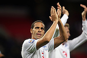 Rio Ferdinand of England applauds the fans at the end of the match