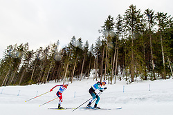 February 22, 2019 - Seefeld In Tirol, AUSTRIA - 190222 Jarl Magnus Riiber of Norway and Antoine Gerard of France compete in men's nordic combined 10 km Individual Gundersen during the FIS Nordic World Ski Championships on February 22, 2019 in Seefeld in Tirol..Photo: Vegard Wivestad GrÂ¿tt / BILDBYRN / kod VG / 170288 (Credit Image: © Vegard Wivestad Gr¯Tt/Bildbyran via ZUMA Press)