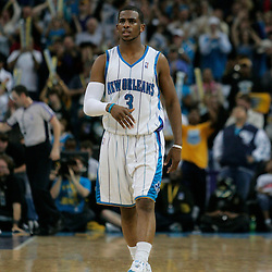 29 March 2009: New Orleans Hornets guard Chris Paul (3) reacts after a play during a 90-86 victory by the New Orleans Hornets over Southwestern Division rivals the San Antonio Spurs at the New Orleans Arena in New Orleans, Louisiana.