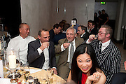 NOBU MATSUHISA; ? TREVOR GULLIVER; FERGUS HENDERSON; The Tomodachi ( Friends) Charity Dinner hosted by Chef Nobu Matsuhisa in aid of the Unicef  Japanese Tsunami Appeal. Nobu Berkeley St. London. 5 May 2011. <br /> <br />  , -DO NOT ARCHIVE-© Copyright Photograph by Dafydd Jones. 248 Clapham Rd. London SW9 0PZ. Tel 0207 820 0771. www.dafjones.com.