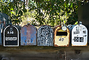 Marin County, California, August, 2008- A row of mailboxes at the entry to Muir Beach on the California coast.