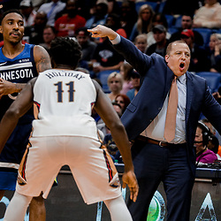 Nov 1, 2017; New Orleans, LA, USA; Minnesota Timberwolves head coach Tom Thibodeau calls out to his team during the second quarter of a game against the New Orleans Pelicans at the Smoothie King Center. Mandatory Credit: Derick E. Hingle-USA TODAY Sports