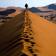 Hike along the dune ridges in the Dead Vlei area of Sossusvlei park in the early morning. Namibia boasts the world?s oldest and largest sand dunes, extending for 400 miles along the coast and more than 80 miles inland. July 17, 2008. Photo by Evelyn Hockstein for The New York Times.