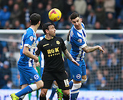 Bolton Wanderers midfielder Mark Davies & Brighton defender Liam Ridgewell during the Sky Bet Championship match between Brighton and Hove Albion and Bolton Wanderers at the American Express Community Stadium, Brighton and Hove, England on 13 February 2016. Photo by Bennett Dean.