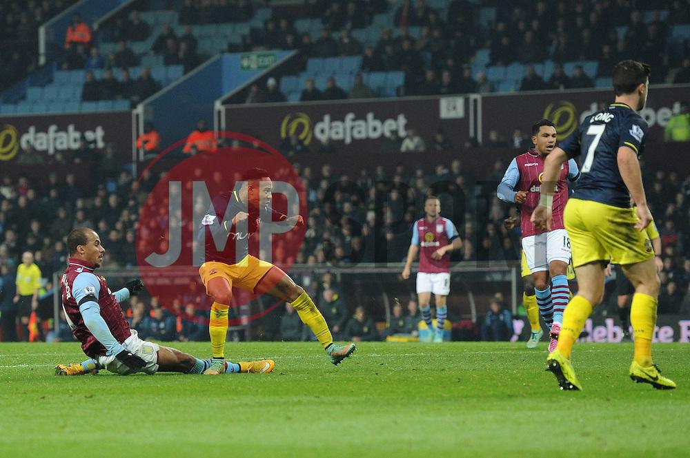 Southampton's Nathaniel Clyne scores a goal. - Photo mandatory by-line: Dougie Allward/JMP - Mobile: 07966 386802 - 24/11/2014 - SPORT - Football - Birmingham - Villa Park - Aston Villa v Southampton - Barclays Premier League