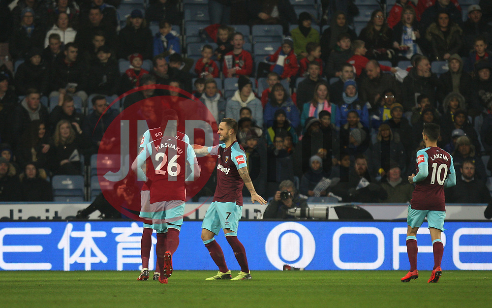 Marko Arnautovic of West Ham United (C) celebrates after scoring his sides second goal - Mandatory by-line: Jack Phillips/JMP - 13/01/2018 - FOOTBALL - The John Smith's Stadium - Huddersfield, England - Huddersfield Town v West Ham United - English Premier League