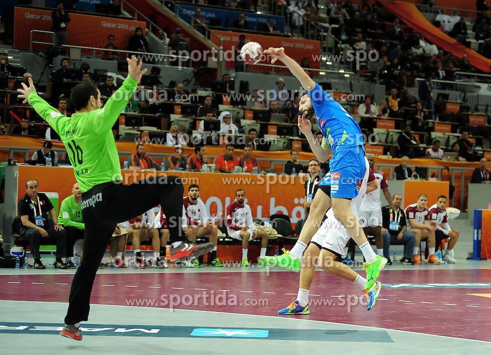 Dragan Gajic #30 of Slovenia during handball match between National Teams of Slovenia and Qatar at Day 5 of 24th Men's Handball World Championship Qatar 2015 on January 19, 2015 in Al Bin Hamad Al Attiya Arena, Doha, Qatar. Photo by Slavko Kolar / Sportida