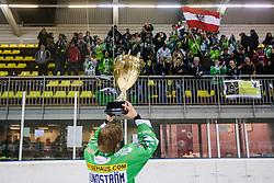 Linus Lundstrom of EHC Bregenzerwald celebrates with trophy for first place during 5th game of final INL league ice hockey match between HK Playboy Slavija and EHC Bregenwald at Dvorana Zalog, on April 3, 2013, in Ljubljana, Slovenia. (Photo by Matic Klansek Velej / Sportida)