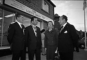 19/07/1967<br /> 07/19/1967<br /> 19 July 1967<br /> Opening of Intercontinental Travel Ltd. at Crumlin Cross, Dublin. The company, an associate company of the Loftus group of Companies was the first Irish Travel Agency to be opened in the outer  suburbs of Dublin. Photo shows (l-r): Mr. J.J. Loftus, Director, of the lotus Group; Mr. Oliver Flanagan T.D. , President of the Irish Auctioneers Association; Mrs Flanagan and Mr. L.V. Nolan, outside the new office.