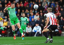Paul Mullin of Swindon Town heads the ball at goal -Mandatory by-line: Nizaam Jones/JMP - 07/10/2017 - FOOTBALL - LCI Rail Stadium- Cheltenham, England - Cheltenham Town v Swindon Town - Sky Bet League Two