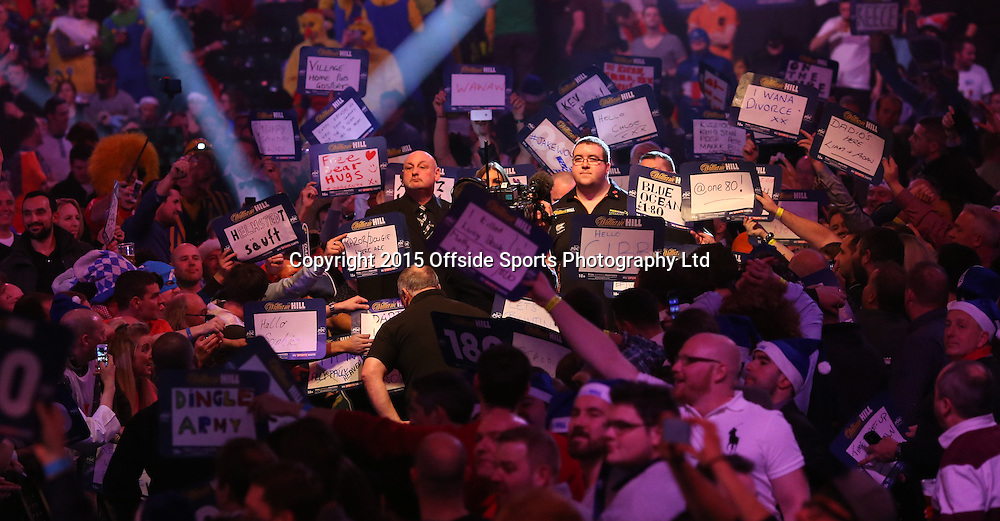 02 January 2015  PDC World Darts Championship London;  Stephen Bunting walks out to play van Barneveld.<br /> Photo: Mark Leech