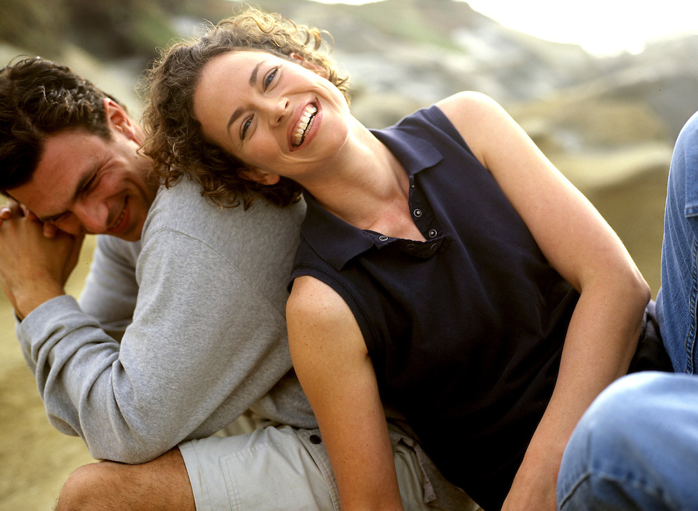 Couple enjoying a beach afternoon with each other for Eddie Bauer advertising in La Jolla, CA