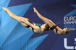 Italy's Elena Bertocchi (right) and Chiara Pellacani competing in the Women's Synchronised 3m Springboard Final during day eleven of the 2018 European Championships at the Royal Commonwealth Pool, Edinburgh.