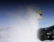 Tim Hoff airing it out BIG in the Snake River Range against a Bluebird sky